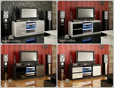 NEW 2017! Superb TV Stand Unit Cabinet 120cm + Door + Drawers + Gloss + LED