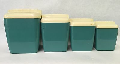 Vintage 1950S Kitchen Canister Set Plastic Turquoise And Cream MCM