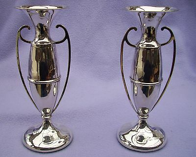 MATCHED PAIR SOLID SILVER VASES - NOUVEAU  - CHESTER 1909 - T&S - 183mm TALL