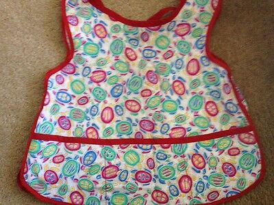 Clearance ! Toddler Bib / Apron W Turtle Designs And 3 Pockets Cute Handmade