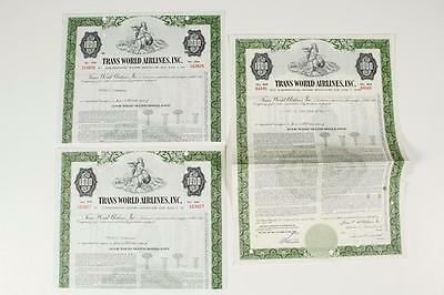 TRANS WORLD AIRLINES INC. ~   3 Stock Certificates (c1961)