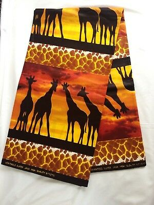 Beautiful African Animals Jungle Cotton Fabric  Safari Colourful Yards Forest