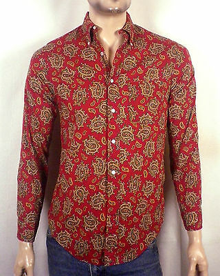 vtg 50s Penneys Towncraft minty Paisley Button Back Collar Dress Shirt lounge S