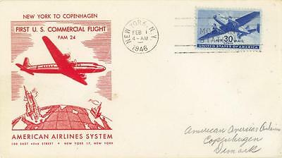 US AIRMAIL FFC NEW YORK to COPENHAGEN 1946 ILLUSTRATED AMERICAN AIRLINES