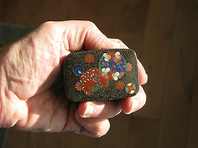 Antique Japanese Meiji Cloisonne Covered Box Flowers