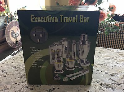 Executive Travel Bar 11 Piece Set With  Black Case Stainless Steel New In Box