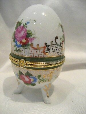 Pretty Porcelain Opening Egg On 3 Feet, Roses And Gold Coloured Lattice Decor