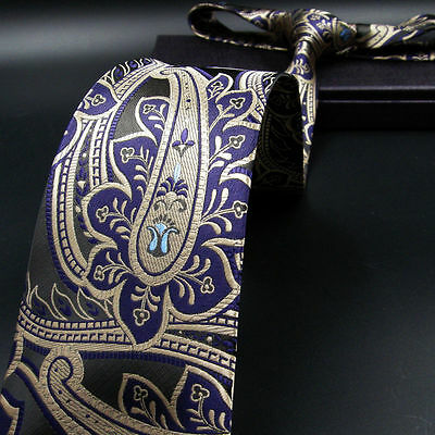 Turquoise Blue Green Silver Paisley 100/% SILK TIE Jacquard Woven New Hologram
