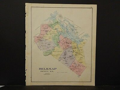 New Hampshire,Belknap County Map,  Reversible Single Page 1892 L4#28