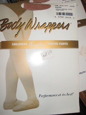 BODY WRAPPERS Children DANCE C30 White, Suntan Jazzy Tan Footed TIGHTS XS/S, M/L