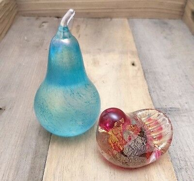 Isle of Wight Glass Paperweights Azurene Turquoise Pink Small Bird Pear Fruits
