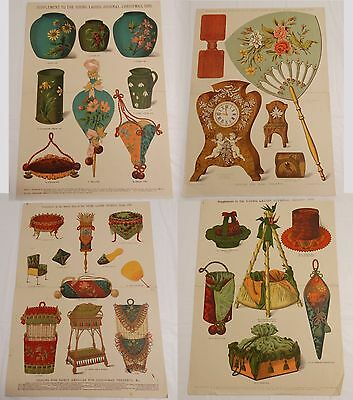 Lot of 4 ANTIQUE FANCY PATTERN DESIGNS for CHRISTMAS PRESENTS 1886 1888-89 1894