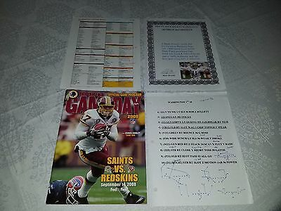 Mark Brunell Saints Redskins GAME USED PLAYERS PLAYBOOK NOTES NFL RARE 9-14-2008