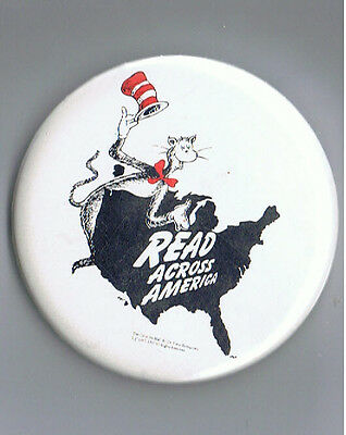 "1997 Dr Seuss Cat in the Hat 2.5"" Advertising Pinback Button Read Across America"