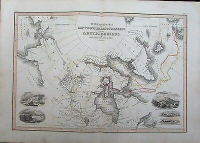 Arctic region Discoveries Ross Perry Franklin c.1830 rare map w/ inset views