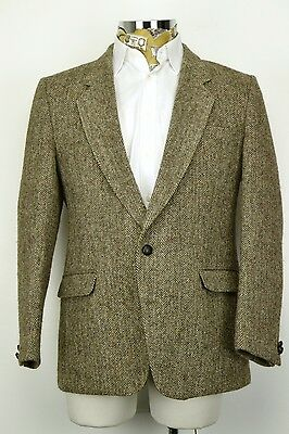 "42"" Regular 2 Button Harris Tweed Jacket Herringbone Brown made in England"