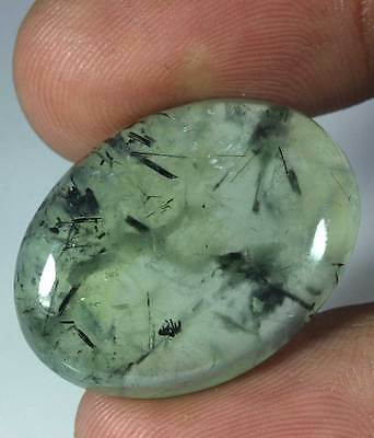 38.70Cts. NATURAL  APPLE GREEN PREHNITE OVAL CAB LOOSE GEMSTONES AFRICA 4089