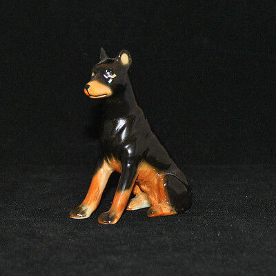 Vintage Doberman Pinscher Dog Sitting Japan Figurine Animal Porcelain