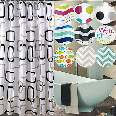 Modern Bathroom Shower Curtain with 12 Ring Hooks 180 x 180 cm