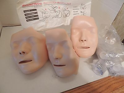 3 resusci anne replaceable Manikin faces plus  lung bags