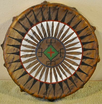 Geometric Turtle /Native American Drum Painted by Lakota Artist Sonja Holy Eagle