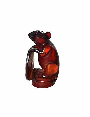 CHINESE CHERRY AMBER Resin Carved Rat & Lucky Coin Zodiac