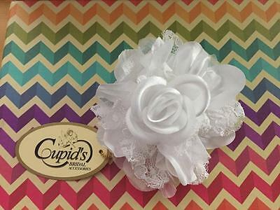 Brand New Cupids Bridal White Lace Satin Flower H161 Head piece hair accessory