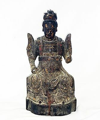 14C Chinese Ming Lacquer & Gilt Wood Seated Robed Female Deity (New)
