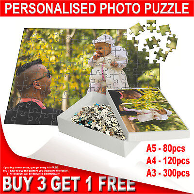 Personalised Printed Jigsaw Puzzle - Custom Own Photo Gift Print - A5, A4, A3