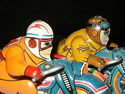 (2) 1950s FRICTION MOTOR TIN LITHO RACING MOTORCYCLES W/ CHUBBY RIDERS JAPAN 5""