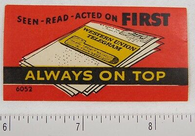 1930's-40's Western Union Telegram Poster Stamp Luggage Label #1 P312