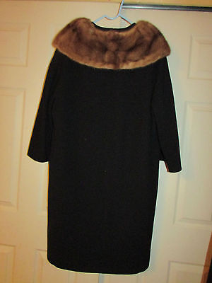 Vintage UNION MADE Black womens wool cashmere coat with fur collar 1940's ?? EXC
