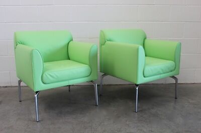 "Mint Poltrona Frau ""Eos"" 2 Identical Armchair Suite In Green ""Pelle"" Leather"