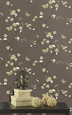 Chocolate Brown Lime Green Floral Butterflies Wallpaper Wall Covering Design