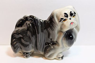 Vintage Pekingese Planter Vase Ceramic Gray Dog