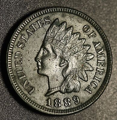 1889 INDIAN HEAD CENT - With LIBERTY & 4 DIAMONDS - AU UNC Details