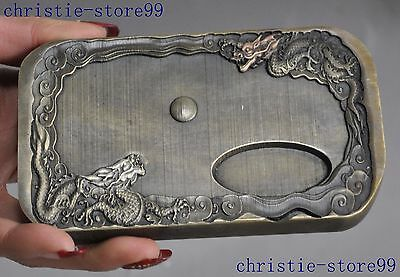 """5""""China bronze fengshui double Dragon play Beads Inkstone Ink stone lucky statue"""