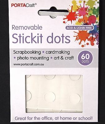 60Pk 12Mm Stickit Dots - Scrapbooking Craft Card Making Photo Mounting Removable
