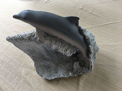 Living Stone Carved Bottlenose Dolphin Riding Wave Sculpture