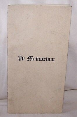 1940's Indianapolis Star Newspaper In Memoriam Poems Booklet-Death