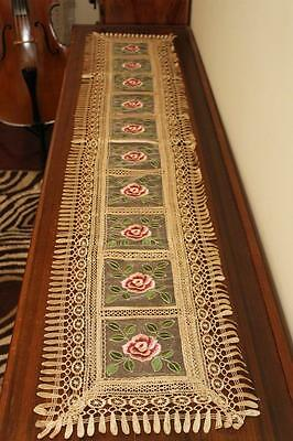 Elegantly embroidered lace satin top quality table runners for furniture & table