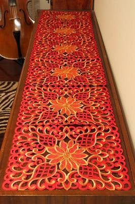 Elegant embroider top quality table runner for table furniture piano RED & Gold