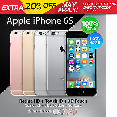Apple iPhone 6 or 6s Unlocked 16 64 128 GB Smartphone + Retina HD 100% Genuine