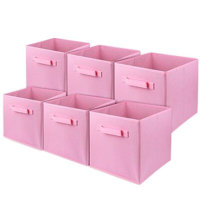 6PK Folding Fabric Storage Bin Collapsible Box Girl Kids Toy Organizer Cube Pink
