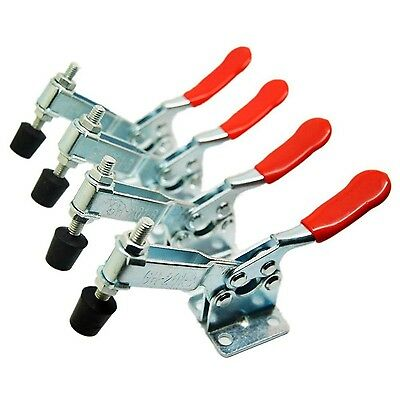 E-TING New 4 PCS Hand Tool Toggle Clamp 201B Antislip Red Horizontal Clamp 20...