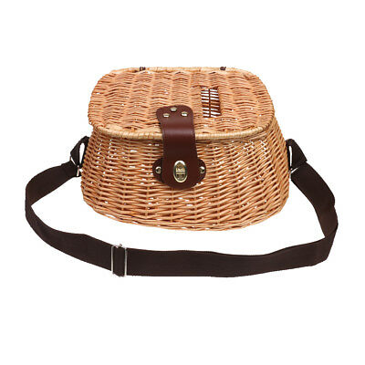 Willow Fish Basket Wicker Vintage Fisherman Traps Cage with Adjustable Strap