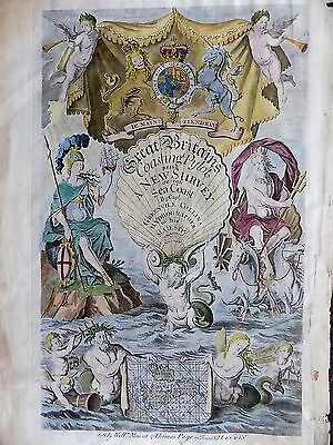 1693 Greenvile Collins Title Page Atlas Old Great Britain Mount Page Antique Map