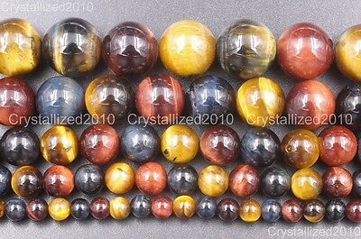 Natural Gemstone Multi-Color Tiger's Eye Round Beads 4mm 6mm 8mm 10mm 12mm 15''