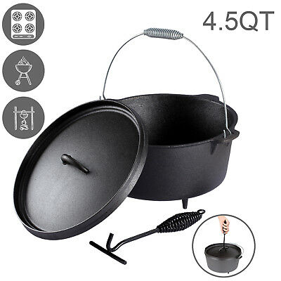 4.5 QUART Cast Iron Dutch Camp Oven Pot Outdoor Camping Cookware Heavy Duty Pan