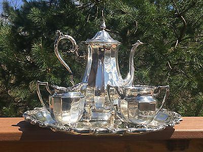 Silverplate Tea Set - Fluted Bodies Floral Trim - Mixed Set Van Bergh Rogers IS